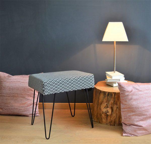 decoration-tabouret-origami-tissu-imprime-motifs-noir-blanc-siege
