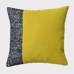 coussin-sixties-noir chiné-jaune-deco