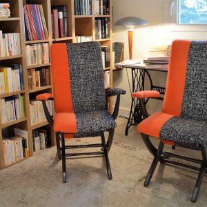 fauteuil-annees-60-orange-noir