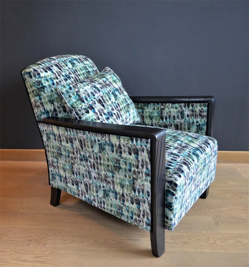 fauteuil kelambu tissu imprime motifs blanc vert bleu - Fauteuil Art Deco
