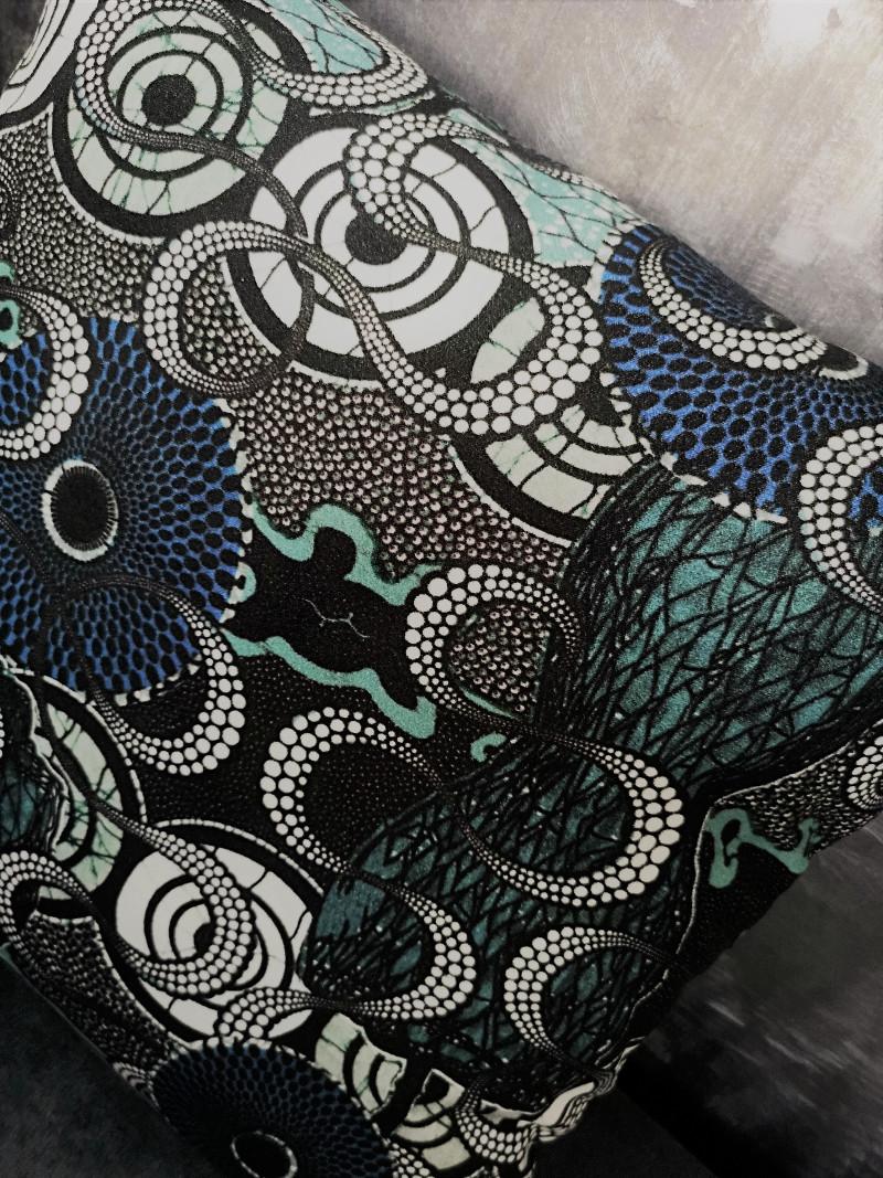 Tissu Jean Paul Gaultier coussin meltingpot aqua, tissu jean-paul gaultier