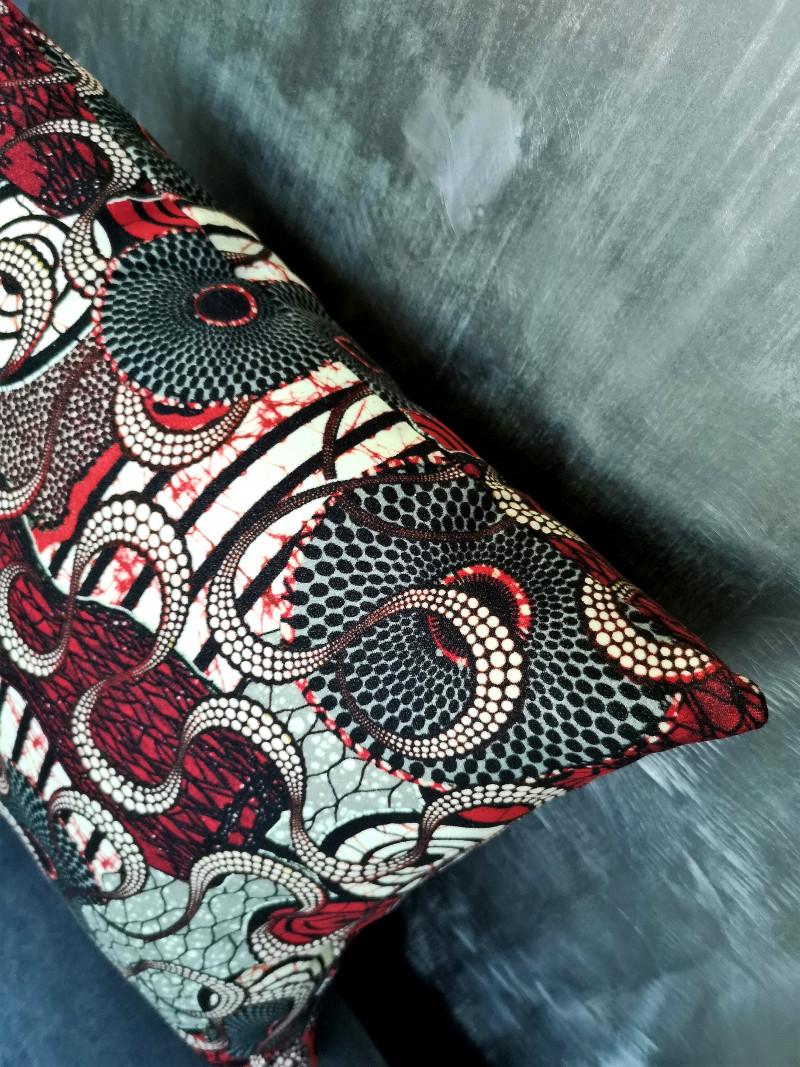 Tissu Jean Paul Gaultier coussin meltingpot rouge, tissu jean-paul gaultier