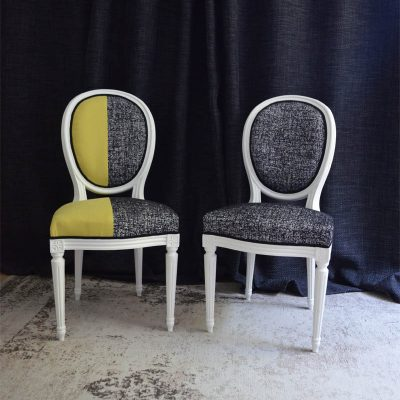 Diptyque chaises style Louis XVI